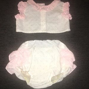 80s Vintage Baby Girl Set Outfit 12 months Ruffles